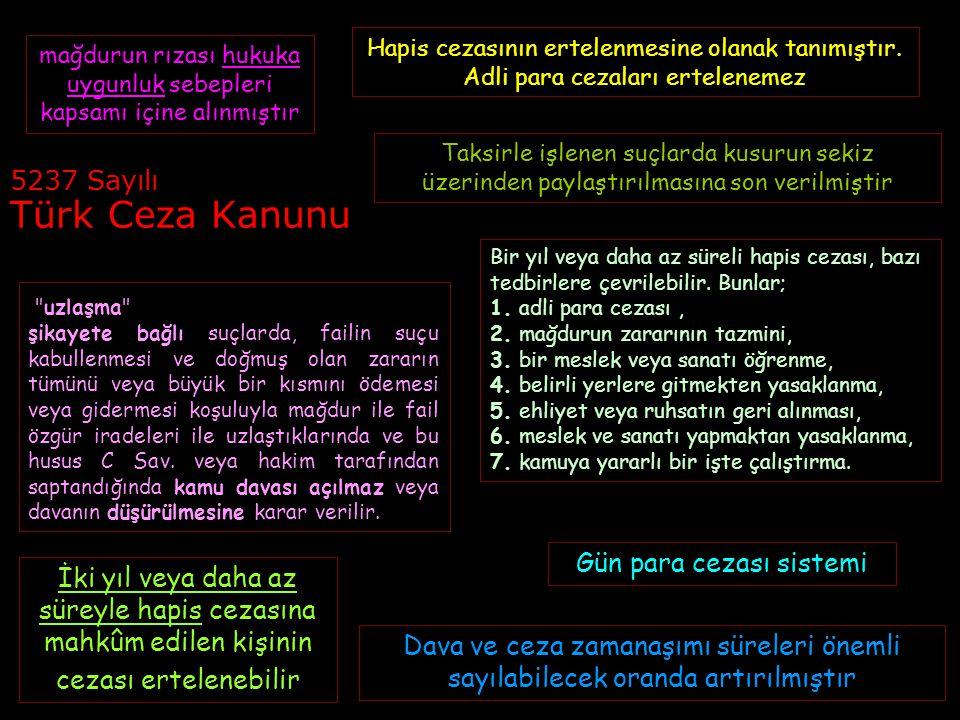 5237 Sayılı Türk Ceza Kanunu Bir yıl veya daha az süreli hapis cezası, bazı tedbirlere çevrilebilir. Bunlar; 1. adli para cezası, 2. mağdurun zararını