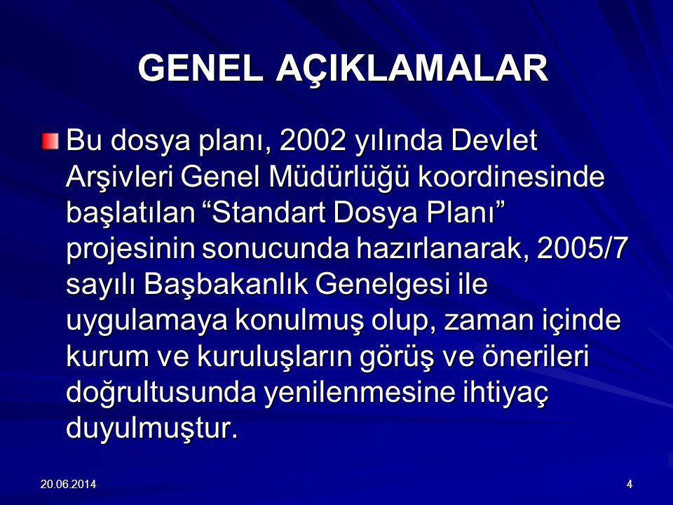 """20.06.20144 GENEL AÇIKLAMALAR Bu dosya planı, 2002 yılında Devlet Arşivleri Genel Müdürlüğü koordinesinde başlatılan """"Standart Dosya Planı"""" projesinin"""