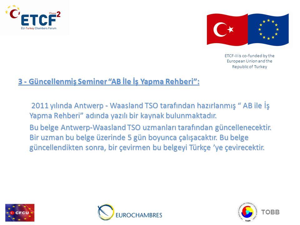 3 - Güncellenmiş Seminer AB İle İş Yapma Rehberi : 2011 yılında Antwerp - Waasland TSO tarafından hazırlanmış AB ile İş Yapma Rehberi adında yazılı bir kaynak bulunmaktadır.