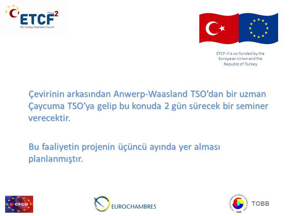 Çevirinin arkasından Anwerp-Waasland TSO'dan bir uzman Çaycuma TSO'ya gelip bu konuda 2 gün sürecek bir seminer verecektir.
