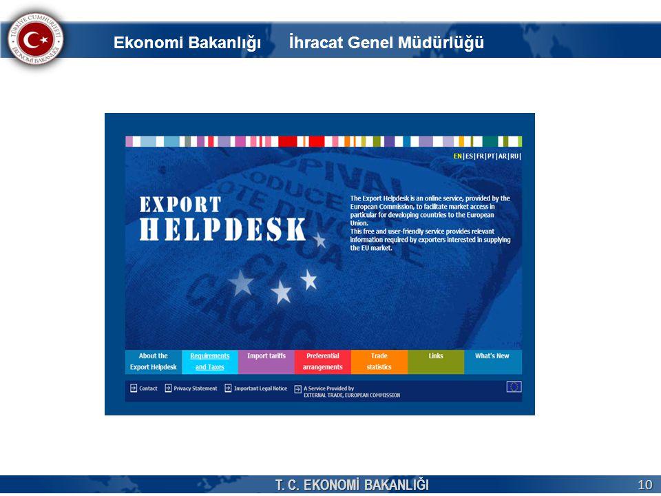T. C. EKONOMİ BAKANLIĞI 10 Ekonomi Bakanlığı İhracat Genel Müdürlüğü