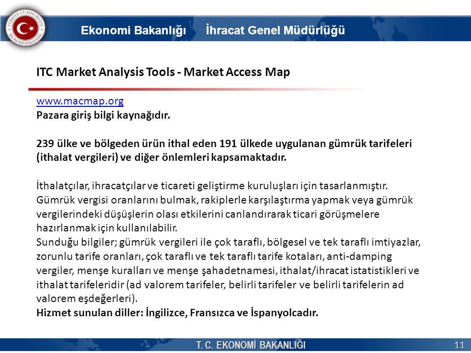 T. C. EKONOMİ BAKANLIĞI 11 Ekonomi Bakanlığı İhracat Genel Müdürlüğü ITC Market Analysis Tools - Market Access Map www.macmap.org Pazara giriş bilgi k