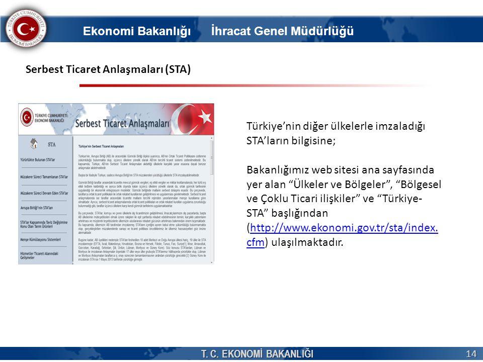 T. C. EKONOMİ BAKANLIĞI 14 Serbest Ticaret Anlaşmaları (STA) Türkiye'nin diğer ülkelerle imzaladığı STA'ların bilgisine; Bakanlığımız web sitesi ana s