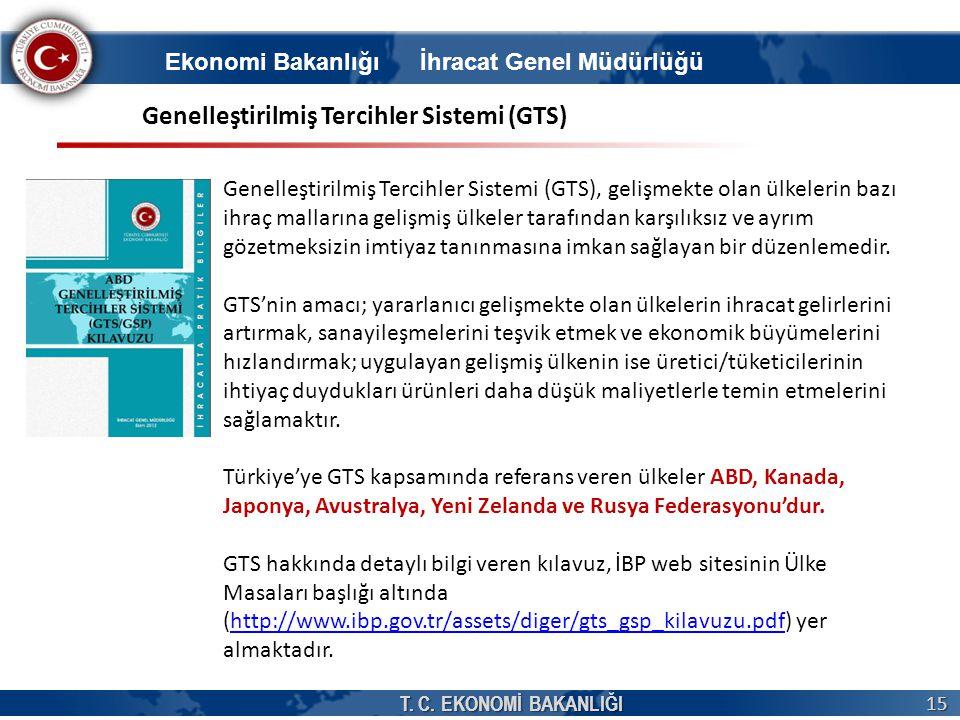 T. C. EKONOMİ BAKANLIĞI 15 Ekonomi Bakanlığı İhracat Genel Müdürlüğü Genelleştirilmiş Tercihler Sistemi (GTS) Genelleştirilmiş Tercihler Sistemi (GTS)