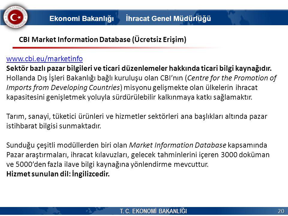 T. C. EKONOMİ BAKANLIĞI 20 CBI Market Information Database (Ücretsiz Erişim) www.cbi.eu/marketinfo Sektör bazlı pazar bilgileri ve ticari düzenlemeler