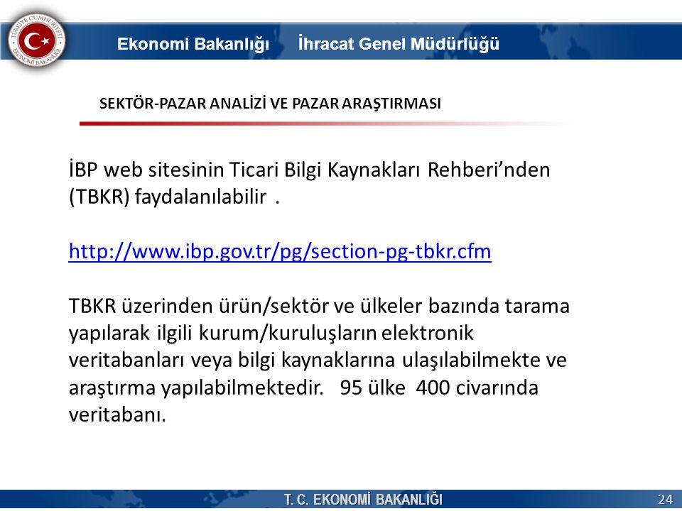 T. C. EKONOMİ BAKANLIĞI 24 İBP web sitesinin Ticari Bilgi Kaynakları Rehberi'nden (TBKR) faydalanılabilir. http://www.ibp.gov.tr/pg/section-pg-tbkr.cf