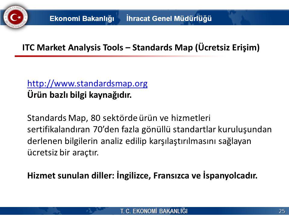 T. C. EKONOMİ BAKANLIĞI 25 http://www.standardsmap.org Ürün bazlı bilgi kaynağıdır. Standards Map, 80 sektörde ürün ve hizmetleri sertifikalandıran 70