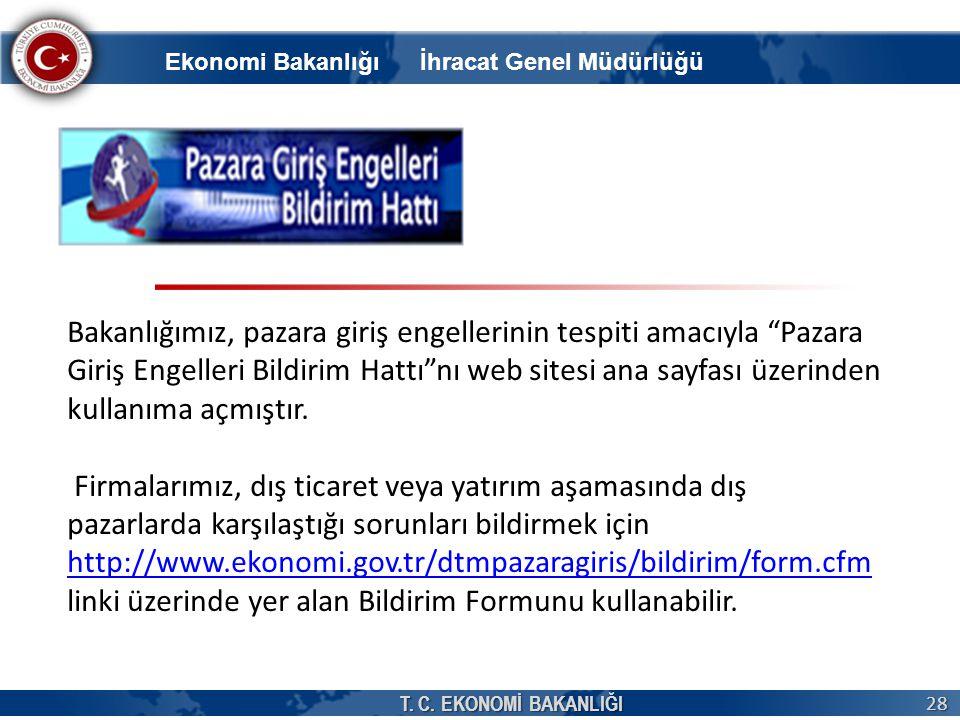 """T. C. EKONOMİ BAKANLIĞI 28 Bakanlığımız, pazara giriş engellerinin tespiti amacıyla """"Pazara Giriş Engelleri Bildirim Hattı""""nı web sitesi ana sayfası ü"""