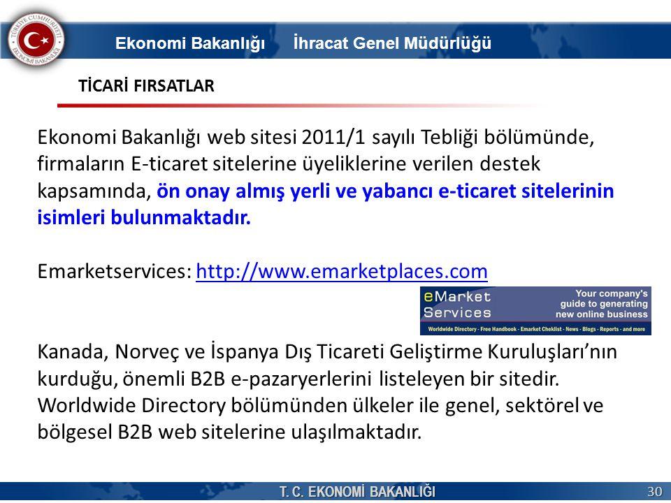 T. C. EKONOMİ BAKANLIĞI 30 Ekonomi Bakanlığı İhracat Genel Müdürlüğü Ekonomi Bakanlığı web sitesi 2011/1 sayılı Tebliği bölümünde, firmaların E-ticare