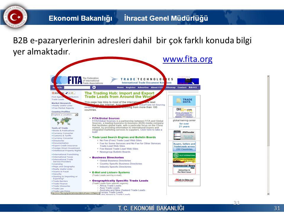 T. C. EKONOMİ BAKANLIĞI 31 31 www.fita.org B2B e-pazaryerlerinin adresleri dahil bir çok farklı konuda bilgi yer almaktadır. Ekonomi Bakanlığı İhracat
