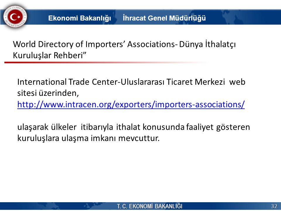 T. C. EKONOMİ BAKANLIĞI 32 International Trade Center-Uluslararası Ticaret Merkezi web sitesi üzerinden, http://www.intracen.org/exporters/importers-a