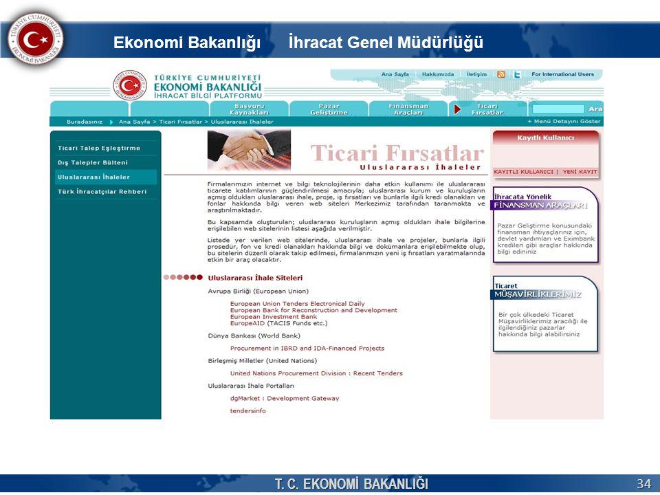T. C. EKONOMİ BAKANLIĞI 34 Ekonomi Bakanlığı İhracat Genel Müdürlüğü