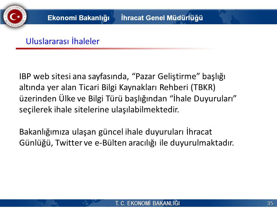 """T. C. EKONOMİ BAKANLIĞI 35 IBP web sitesi ana sayfasında, """"Pazar Geliştirme"""" başlığı altında yer alan Ticari Bilgi Kaynakları Rehberi (TBKR) üzerinden"""