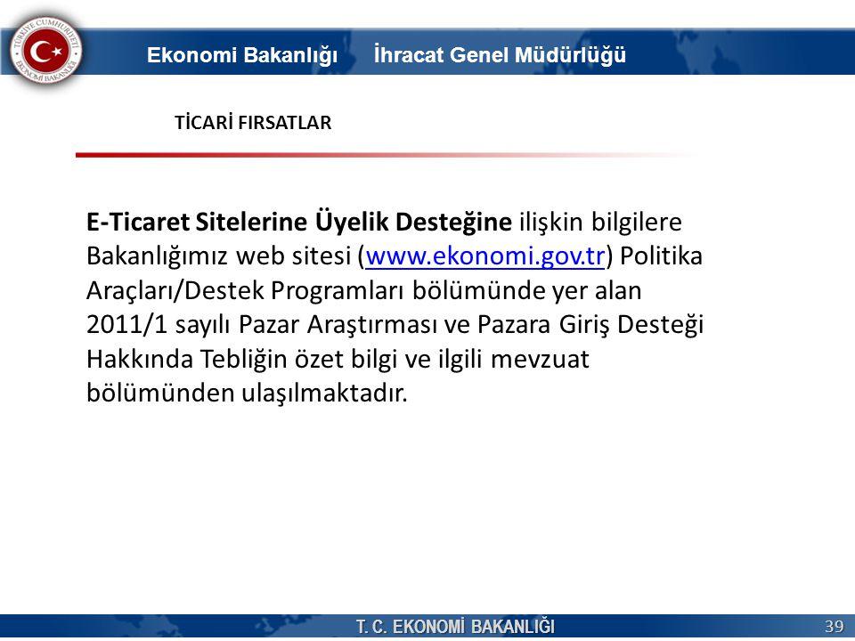 T. C. EKONOMİ BAKANLIĞI 39 E-Ticaret Sitelerine Üyelik Desteğine ilişkin bilgilere Bakanlığımız web sitesi (www.ekonomi.gov.tr) Politika Araçları/Dest