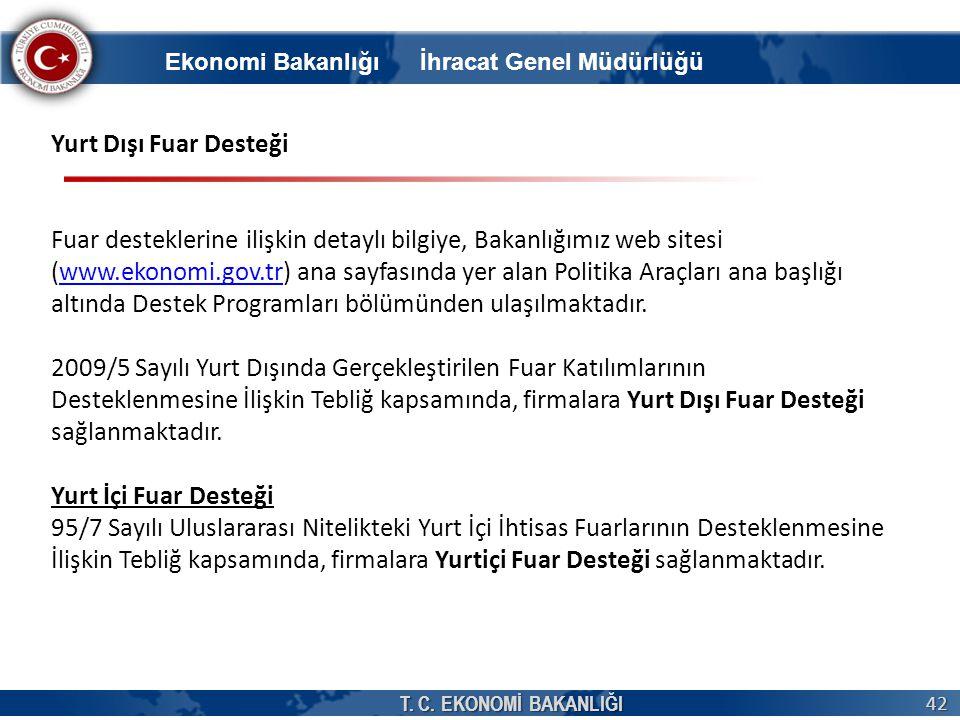 T. C. EKONOMİ BAKANLIĞI 42 Yurt Dışı Fuar Desteği Fuar desteklerine ilişkin detaylı bilgiye, Bakanlığımız web sitesi (www.ekonomi.gov.tr) ana sayfasın