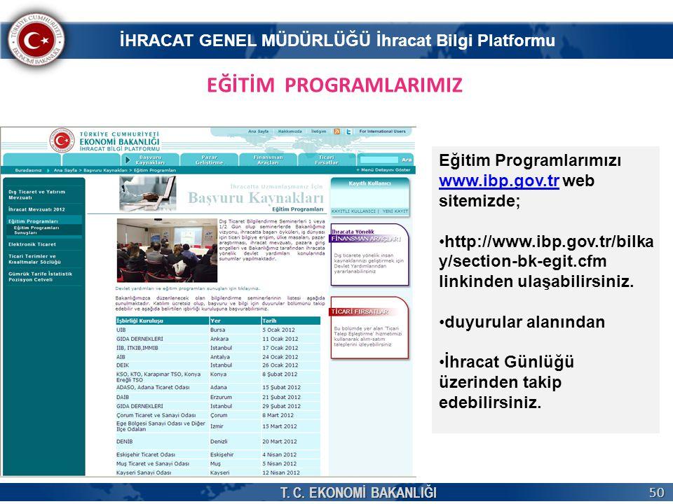 T. C. EKONOMİ BAKANLIĞI 50 EĞİTİM PROGRAMLARIMIZ Eğitim Programlarımızı www.ibp.gov.trwww.ibp.gov.tr web sitemizde; •http://www.ibp.gov.tr/bilka y/sec