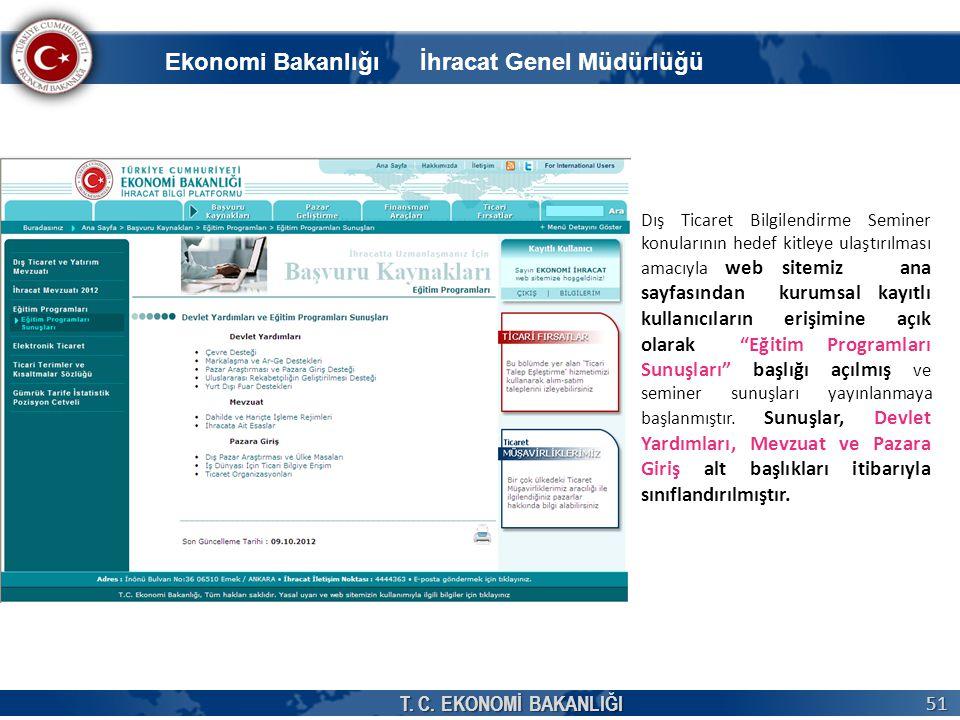 T. C. EKONOMİ BAKANLIĞI 51 Dış Ticaret Bilgilendirme Seminer konularının hedef kitleye ulaştırılması amacıyla web sitemiz ana sayfasından kurumsal kay