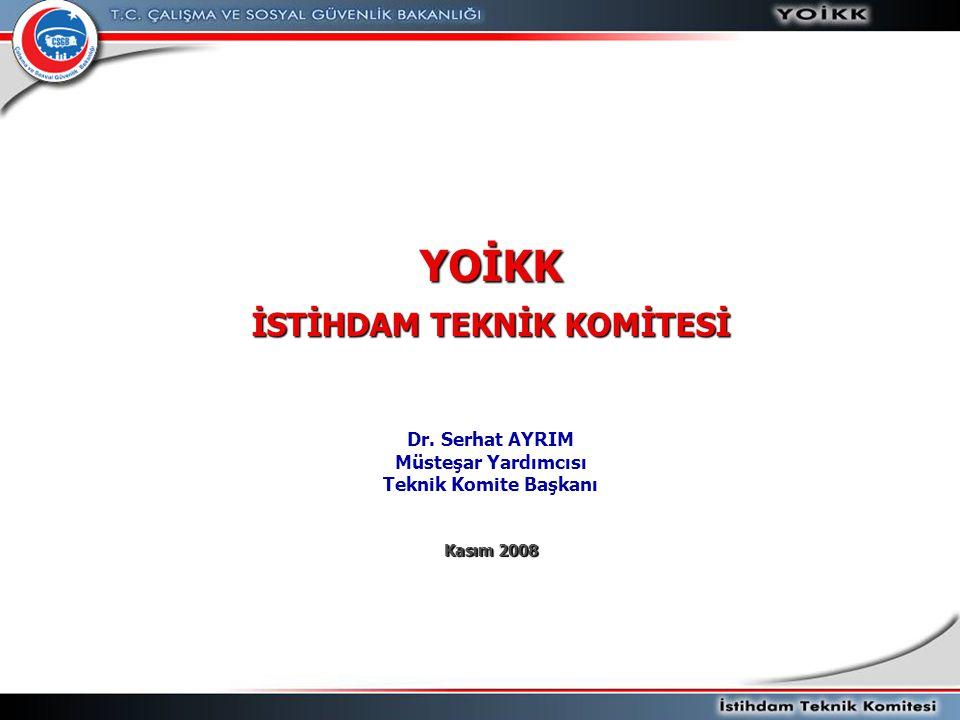 YOİKK İSTİHDAM TEKNİK KOMİTESİ Dr. Serhat AYRIM Müsteşar Yardımcısı Teknik Komite Başkanı Kasım 2008
