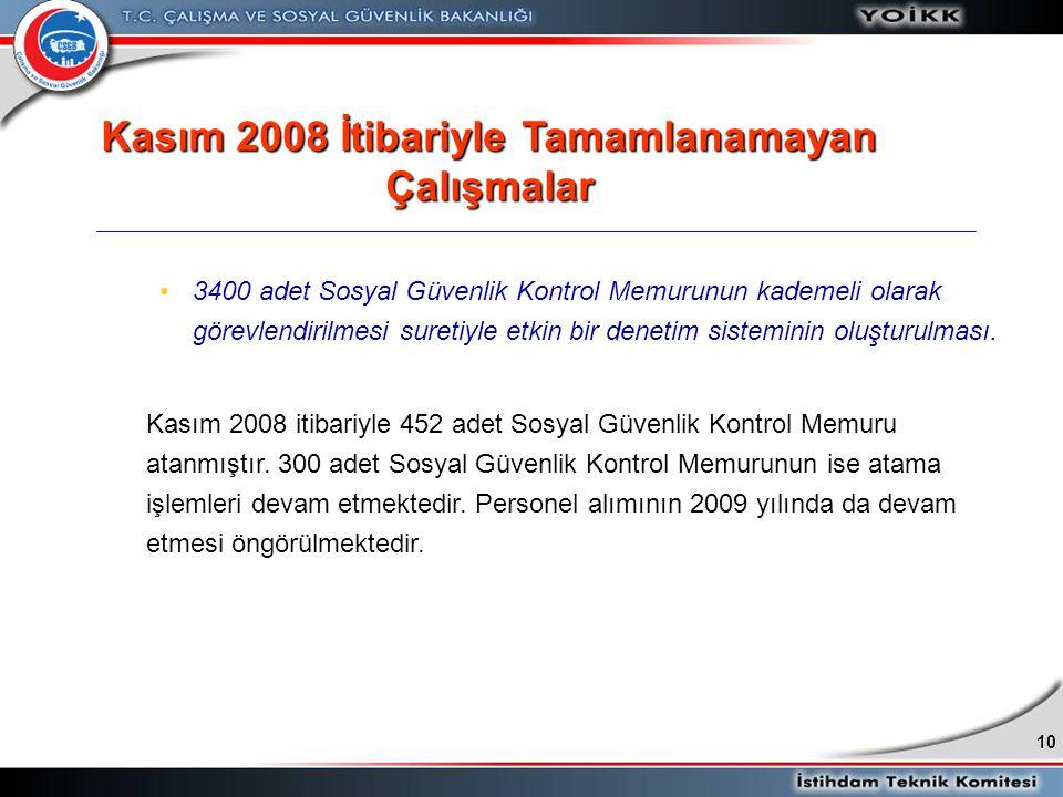 10 •3400 adet Sosyal Güvenlik Kontrol Memurunun kademeli olarak görevlendirilmesi suretiyle etkin bir denetim sisteminin oluşturulması. Kasım 2008 iti