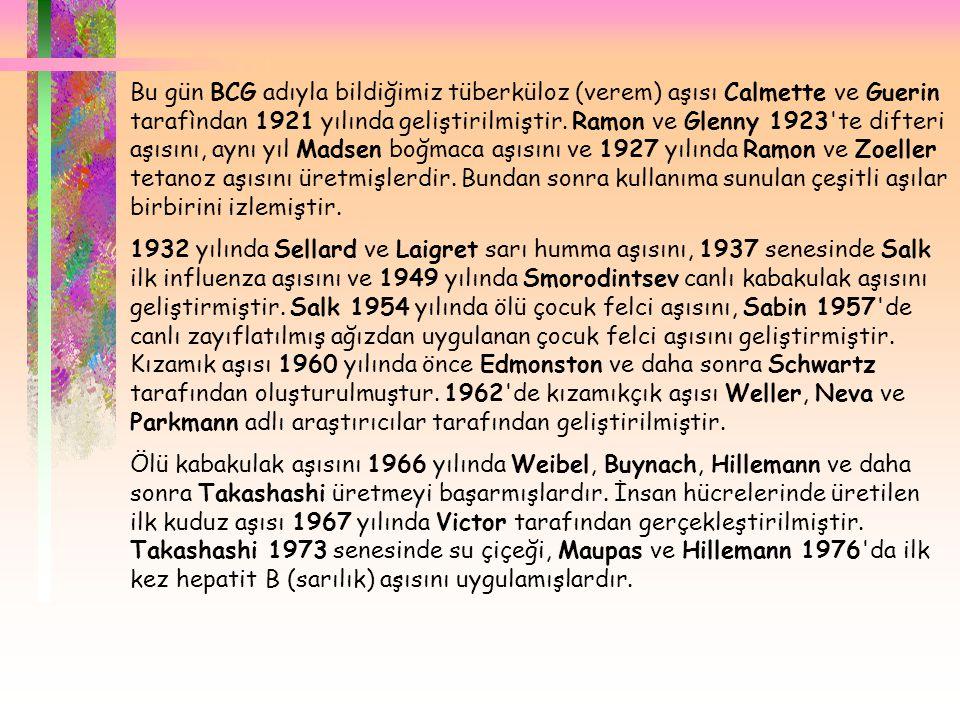  Bu gün BCG adıyla bildiğimiz tüberküloz (verem) aşısı Calmette ve Guerin tarafìndan 1921 yılında geliştirilmiştir. Ramon ve Glenny 1923'te difteri a