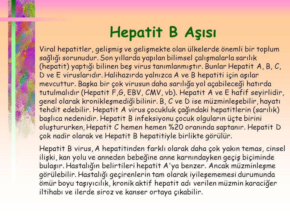  Hepatit B Aşısı Viral hepatitler, gelişmiş ve gelişmekte olan ülkelerde önemli bir toplum sağlığı sorunudur. Son yıllarda yapılan bilimsel çalışmala