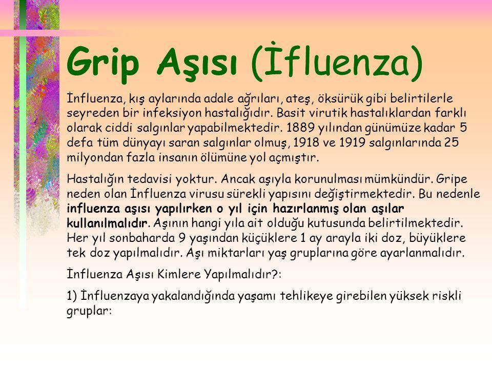  Grip Aşısı (İfluenza) İnfluenza, kış aylarında adale ağrıları, ateş, öksürük gibi belirtilerle seyreden bir infeksiyon hastalığıdır. Basit virutik h