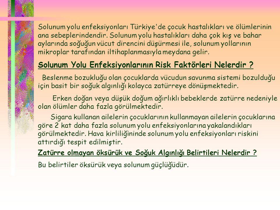  Solunum yolu enfeksiyonları Türkiye'de çocuk hastalıkları ve ölümlerinin ana sebeplerindendir. Solunum yolu hastalıkları daha çok kış ve bahar aylar