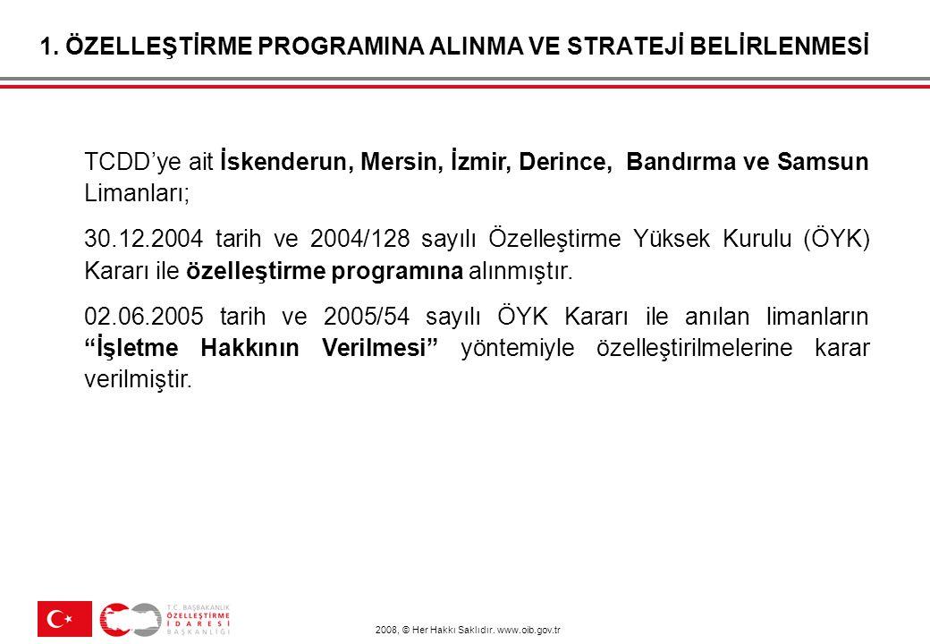 2008, © Her Hakkı Saklıdır. www.oib.gov.tr 1. ÖZELLEŞTİRME PROGRAMINA ALINMA VE STRATEJİ BELİRLENMESİ TCDD'ye ait İskenderun, Mersin, İzmir, Derince,