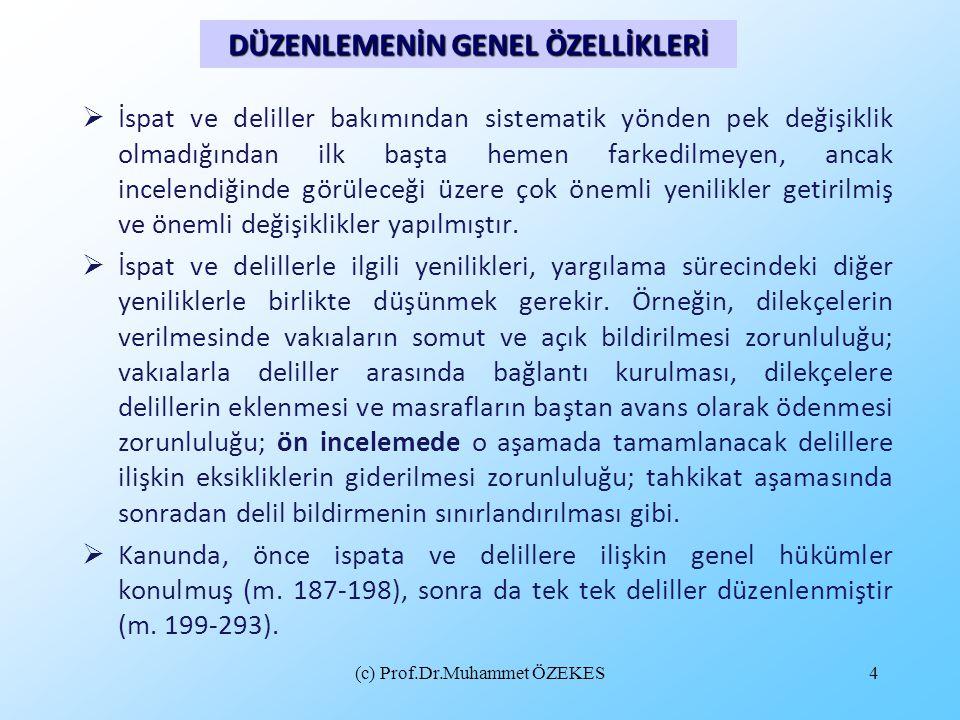 (c) Prof.Dr.Muhammet ÖZEKES5  İspatın konusu vakıalardır.