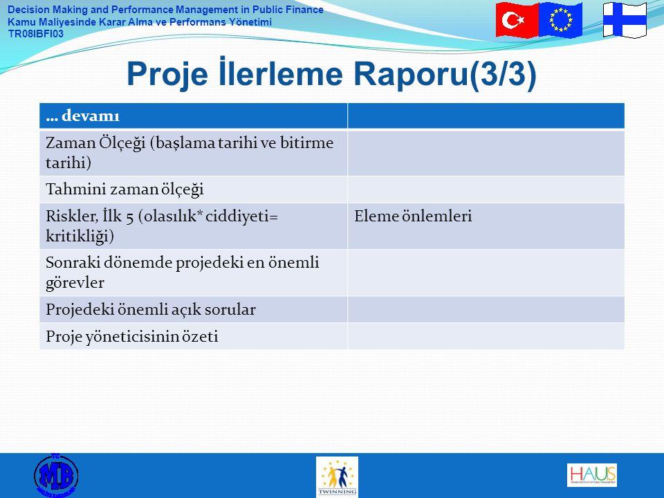 Decision Making and Performance Management in Public Finance Kamu Maliyesinde Karar Alma ve Performans Yönetimi TR08IBFI03 Proje İlerleme Raporu(3/3)