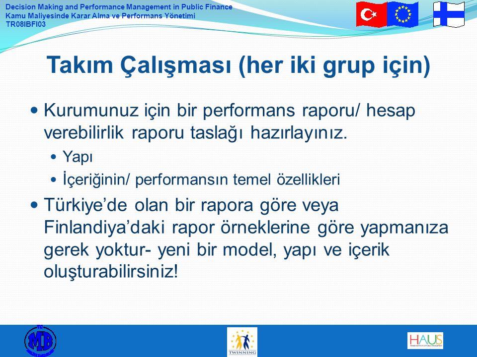 Decision Making and Performance Management in Public Finance Kamu Maliyesinde Karar Alma ve Performans Yönetimi TR08IBFI03  Kurumunuz için bir perfor