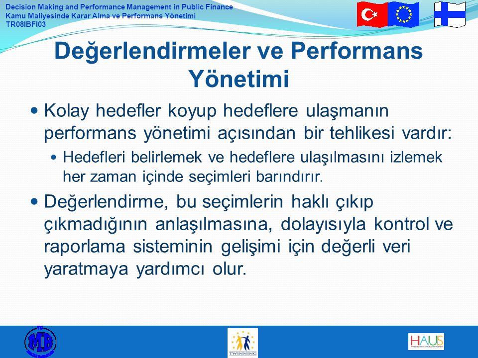 Decision Making and Performance Management in Public Finance Kamu Maliyesinde Karar Alma ve Performans Yönetimi TR08IBFI03 Proje Portföyü Özeti