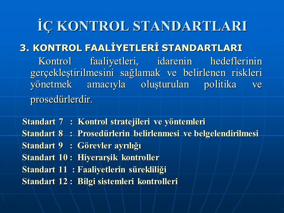 İÇ KONTROL STANDARTLARI 3. KONTROL FAALİYETLERİ STANDARTLARI Kontrol faaliyetleri, idarenin hedeflerinin gerçekleştirilmesini sağlamak ve belirlenen r