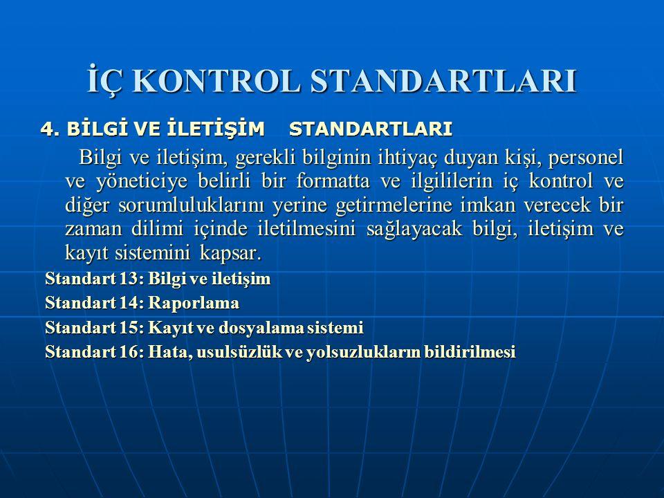 İÇ KONTROL STANDARTLARI 4. BİLGİ VE İLETİŞİM STANDARTLARI Bilgi ve iletişim, gerekli bilginin ihtiyaç duyan kişi, personel ve yöneticiye belirli bir f