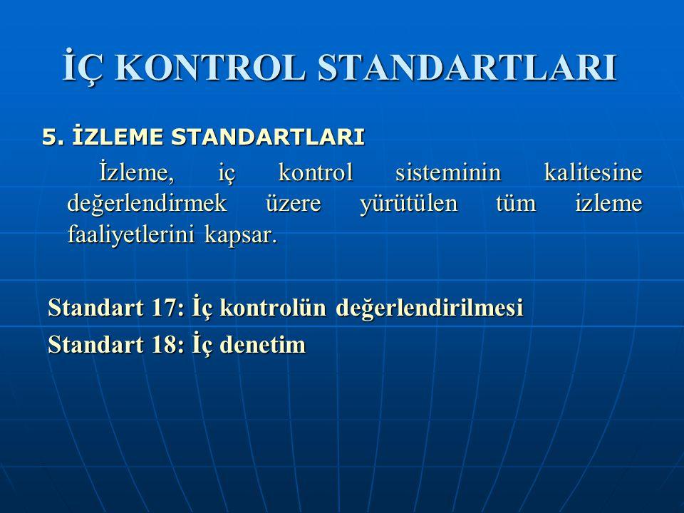 İÇ KONTROL STANDARTLARI 5. İZLEME STANDARTLARI İzleme, iç kontrol sisteminin kalitesine değerlendirmek üzere yürütülen tüm izleme faaliyetlerini kapsa