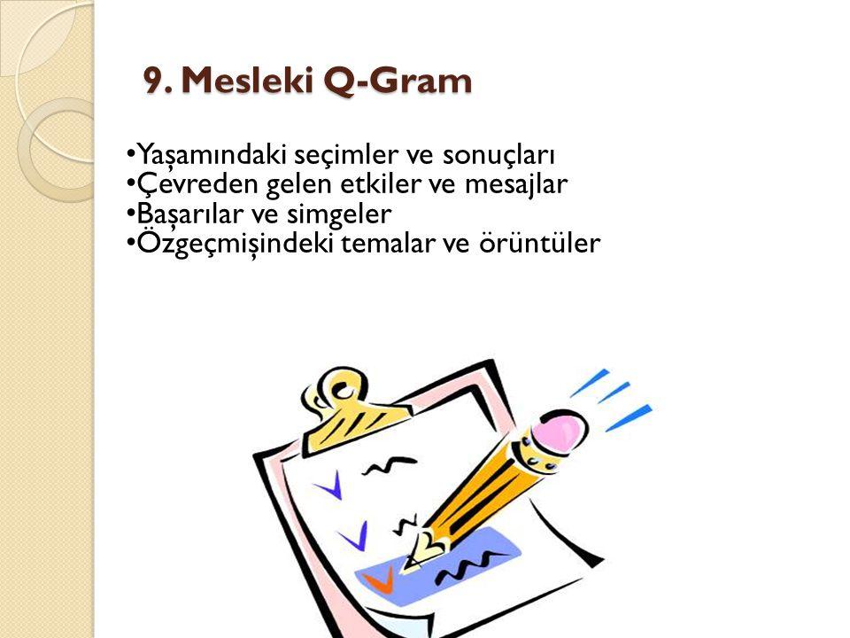 9. Mesleki Q-Gram • Yaşamındaki seçimler ve sonuçları • Çevreden gelen etkiler ve mesajlar • Başarılar ve simgeler • Özgeçmişindeki temalar ve örüntül