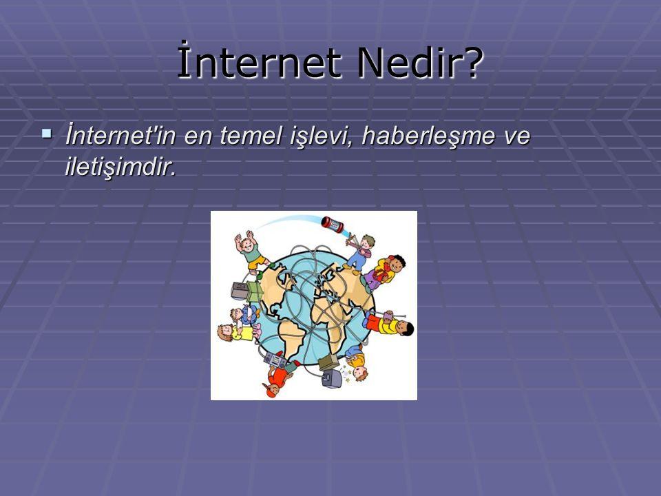 İnternet Nedir?  İnternet'in en temel işlevi, haberleşme ve iletişimdir.