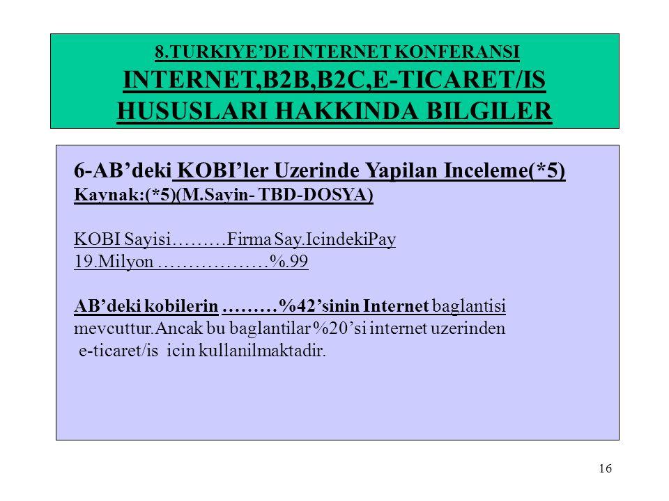 16 8.TURKIYE'DE INTERNET KONFERANSI INTERNET,B2B,B2C,E-TICARET/IS HUSUSLARI HAKKINDA BILGILER 6-AB'deki KOBI'ler Uzerinde Yapilan Inceleme(*5) Kaynak: