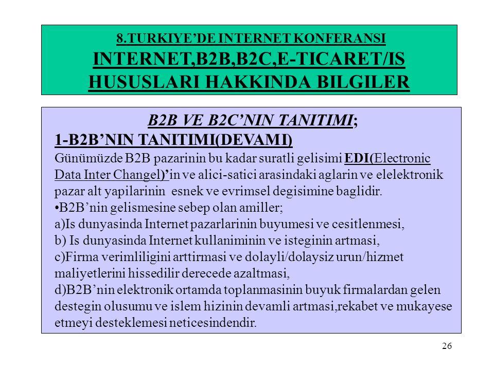 26 8.TURKIYE'DE INTERNET KONFERANSI INTERNET,B2B,B2C,E-TICARET/IS HUSUSLARI HAKKINDA BILGILER B2B VE B2C'NIN TANITIMI; 1-B2B'NIN TANITIMI(DEVAMI) Günü