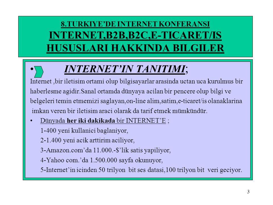 4 8.TURKIYE'DE INTERNET KONFERANSI INTERNET,B2B,B2C,E-TICARET/IS HUSUSLARI HAKKINDA BILGILER INTERNET'IN TANITIMI; •Internetin ilk kuruculari ve ilk buyukleri; 1-WEB'in kurucusu(url,html,http kavramlarini tanitan W3biliginin yöneticisi www.w3.org…………………. TIM BERNNERS-LEE 2-Microsoft'u kuran Internet explorere'i(web taryicisi) internet'e tanistiran……………………………….. BILL GATES 3-E-Mail servisini kurup,internet alt yapisini olusturan,1970'den beri calistiran ………………………………. VINTCERF 4-1990'li yillarda NETSCAPE'in kuruculari icinde yer alan ilk grafik tabanli web tarayicilarini gelistiran ….. MARC ANDEREESSEN-JIM CLARK