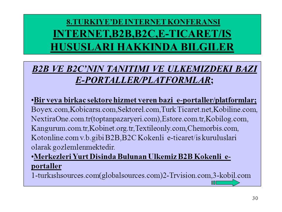 30 8.TURKIYE'DE INTERNET KONFERANSI INTERNET,B2B,B2C,E-TICARET/IS HUSUSLARI HAKKINDA BILGILER B2B VE B2C'NIN TANITIMI VE ULKEMIZDEKI BAZI E-PORTALLER/