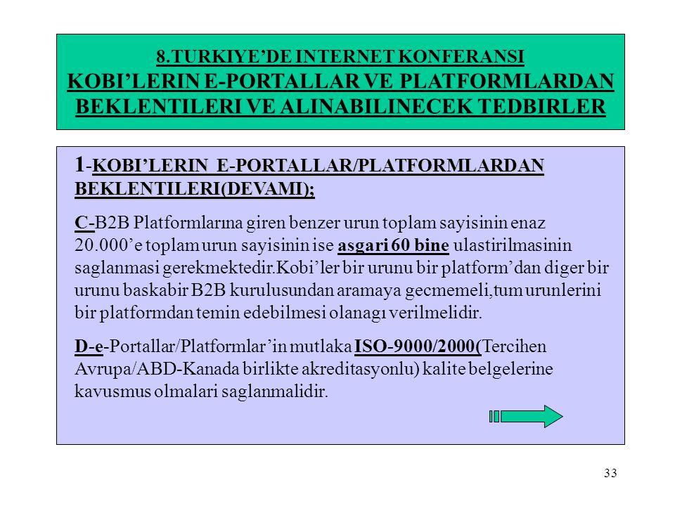 33 8.TURKIYE'DE INTERNET KONFERANSI KOBI'LERIN E-PORTALLAR VE PLATFORMLARDAN BEKLENTILERI VE ALINABILINECEK TEDBIRLER KOBI'LERIN E-PORTALLAR/PLATFORML
