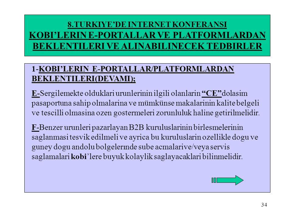 34 8.TURKIYE'DE INTERNET KONFERANSI KOBI'LERIN E-PORTALLAR VE PLATFORMLARDAN BEKLENTILERI VE ALINABILINECEK TEDBIRLER KOBI'LERIN E-PORTALLAR/PLATFORML