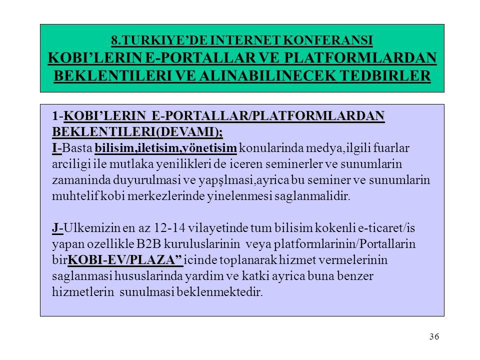 36 8.TURKIYE'DE INTERNET KONFERANSI KOBI'LERIN E-PORTALLAR VE PLATFORMLARDAN BEKLENTILERI VE ALINABILINECEK TEDBIRLER KOBI'LERIN E-PORTALLAR/PLATFORML