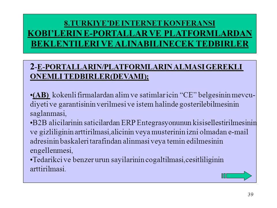 39 8.TURKIYE'DE INTERNET KONFERANSI KOBI'LERIN E-PORTALLAR VE PLATFORMLARDAN BEKLENTILERI VE ALINABILINECEK TEDBIRLER E-PORTALLARIN/PLATFORMLARIN ALMA