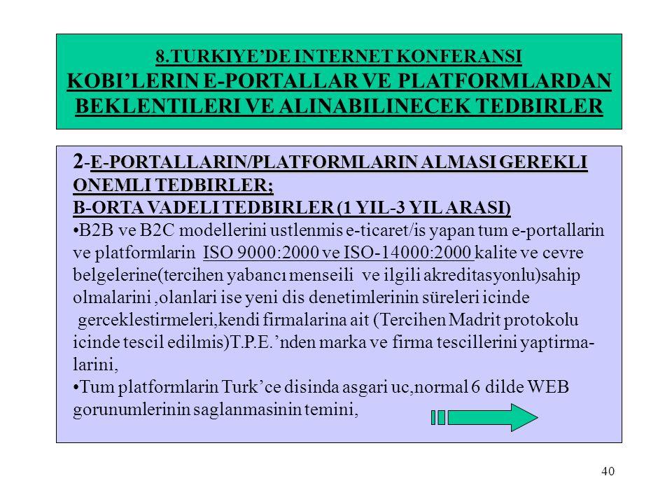 40 8.TURKIYE'DE INTERNET KONFERANSI KOBI'LERIN E-PORTALLAR VE PLATFORMLARDAN BEKLENTILERI VE ALINABILINECEK TEDBIRLER E-PORTALLARIN/PLATFORMLARIN ALMA