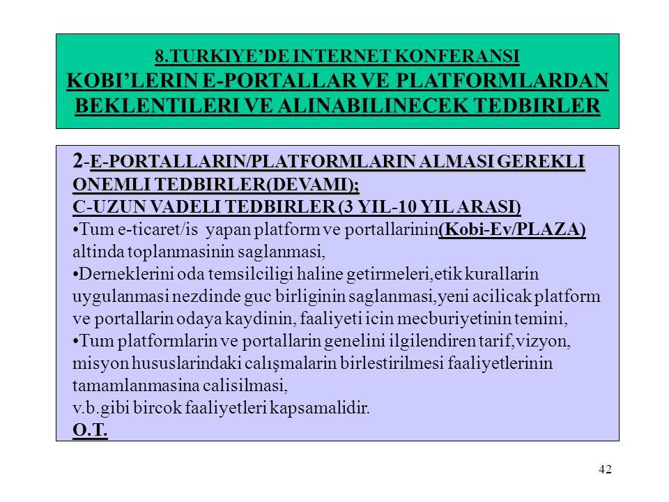 42 8.TURKIYE'DE INTERNET KONFERANSI KOBI'LERIN E-PORTALLAR VE PLATFORMLARDAN BEKLENTILERI VE ALINABILINECEK TEDBIRLER E-PORTALLARIN/PLATFORMLARIN ALMA