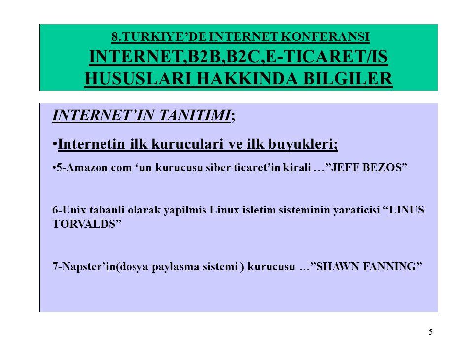 5 8.TURKIYE'DE INTERNET KONFERANSI INTERNET,B2B,B2C,E-TICARET/IS HUSUSLARI HAKKINDA BILGILER INTERNET'IN TANITIMI; •Internetin ilk kuruculari ve ilk b