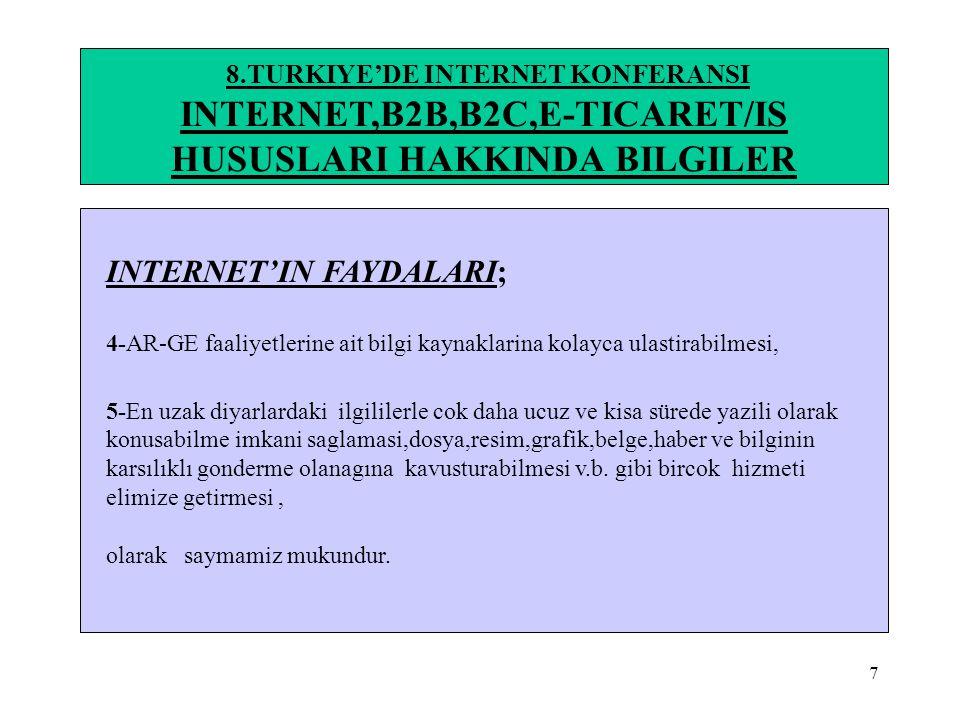 18 8.TURKIYE'DE INTERNET KONFERANSI INTERNET,B2B,B2C,E-TICARET/IS HUSUSLARI HAKKINDA BILGILER 8-Dunyada E-Ticaret/is Gorunumu(*7)(*8) •KAYNAK:(*7)28.11.2002 Murat Buke-turk.internet com 1-1999 YİLİNDA Dunya genelinde e-ticaret is hacmi 20-40 milyar $ iken, 2003 yilinda 144 -380 milyar $ olmasi beklenmektedir.