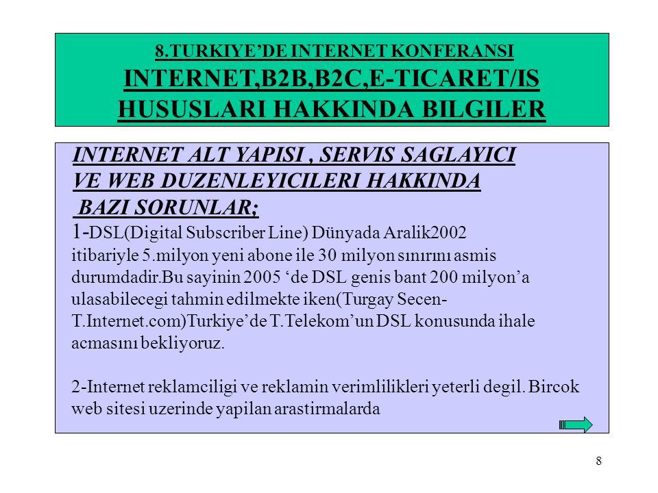 9 8.TURKIYE'DE INTERNET KONFERANSI INTERNET,B2B,B2C,E-TICARET/IS HUSUSLARI HAKKINDA BILGILER Sitelerin cogunda bazi tool'lerin eksik bazilerinin ise hiç bulunmadigi gorulmustur.(71 site 1 ay sure,arastirilan tool'lar:ad server,trafik analizi,trafik takibi,bülten,abone profili,digerleri-www.Reklamitik.com) 3-Internet ve bilgi güvenligi halen oldukca zayif durumdadir.